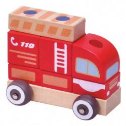 Masinuta Pompieri TRANSILVAN, Modular, din lemn, Multicolor