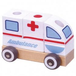 Masinuta Ambulanta TRANSILVAN, Modular, din lemn, Multicolor
