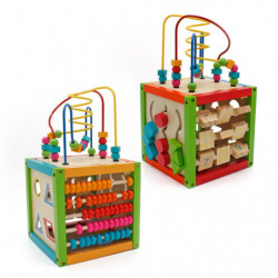 Cub educativ Montessori, din lemn, Multicolor