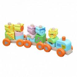 Trenulet educativ TRANSILVAN cu cuburi, modular din lemn,...